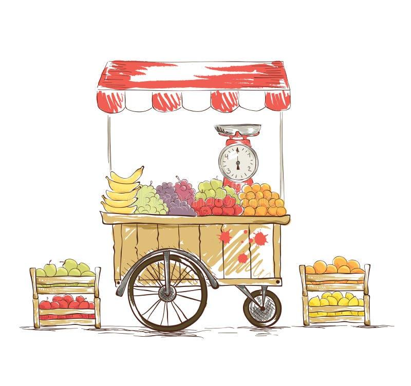 Fruktaffär på hjul stock illustrationer