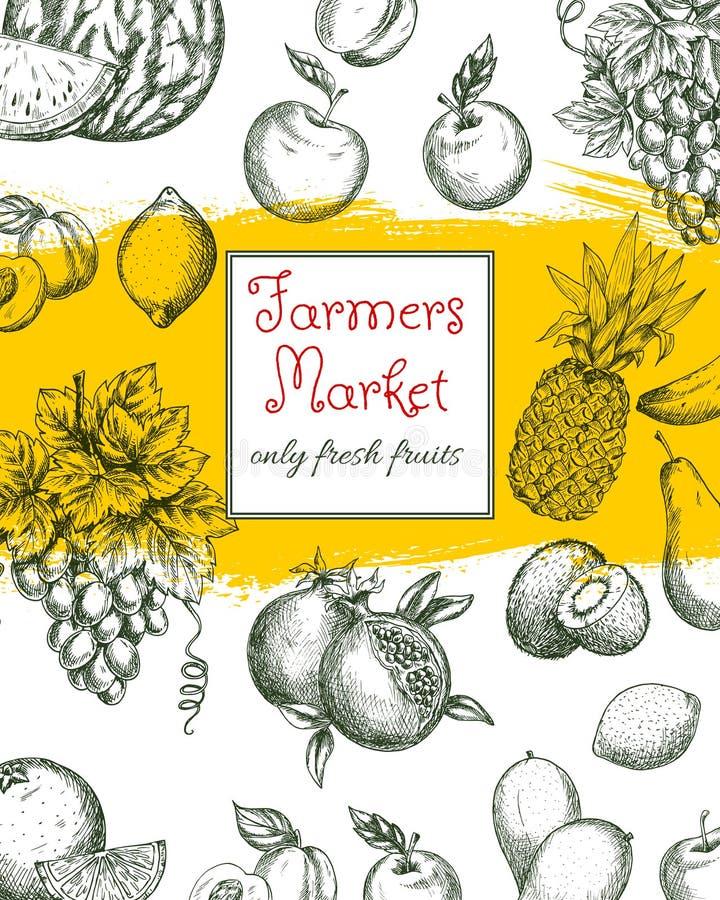 Fruktaffisch av naturliga lantgårdmarknadsfrukter royaltyfri illustrationer