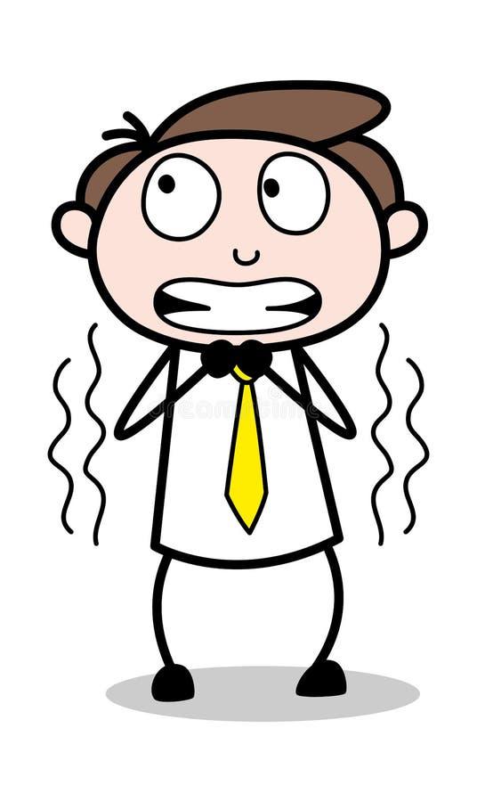 Fruktansvärt - kontorsaffärsmanEmployee Cartoon Vector illustration stock illustrationer