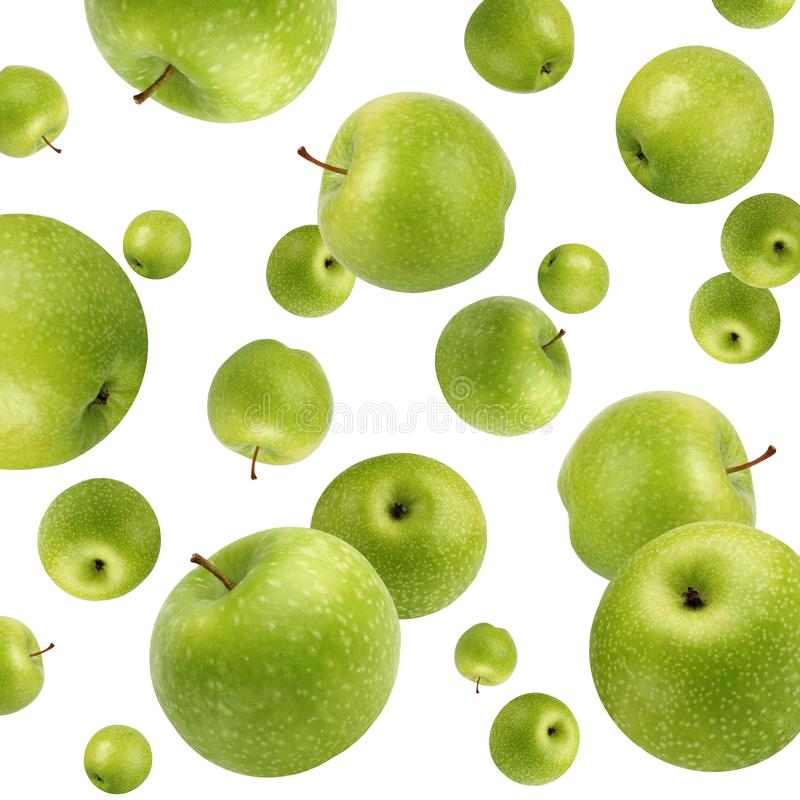 Fruktbakgrund med gröna äpplen på vit arkivbild