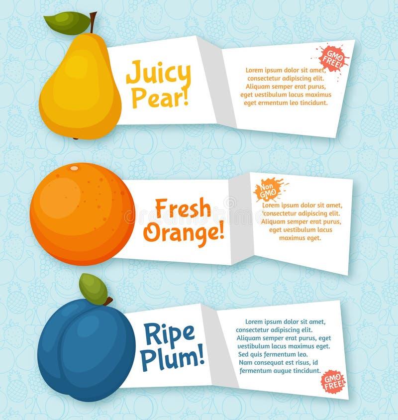 Fruktbaneruppsättning Färgrik mall för att laga mat vektor illustrationer