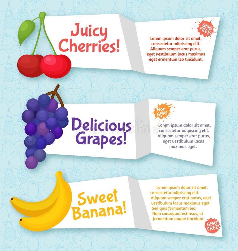Fruktbaneruppsättning Färgrik mall för att laga mat royaltyfri illustrationer