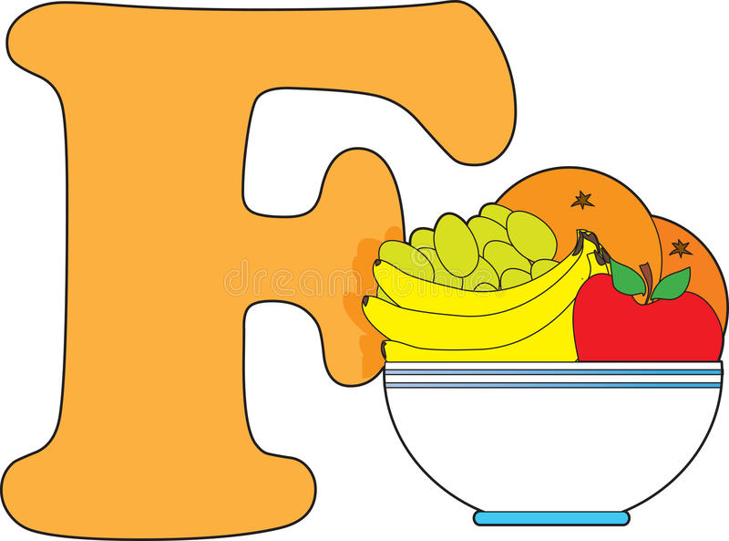 fruktbokstav för bunke f vektor illustrationer