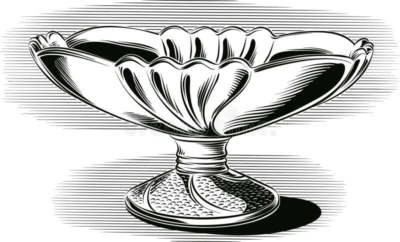 Fruktbunke av fin keramik, stock illustrationer