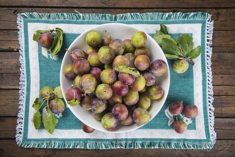 Fruktbunke med renkloplommoner royaltyfri foto