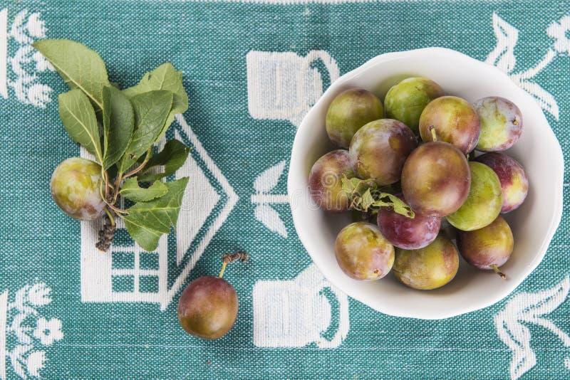 Fruktbunke med renkloplommoner arkivfoto