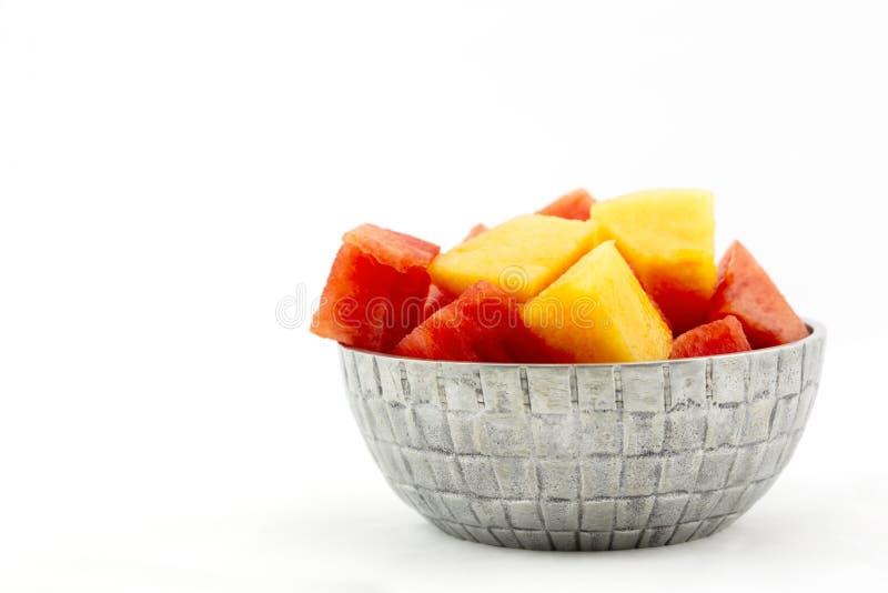 Fruktbunken av melon innehåller vattenmelon och cantaloupmelon royaltyfri fotografi