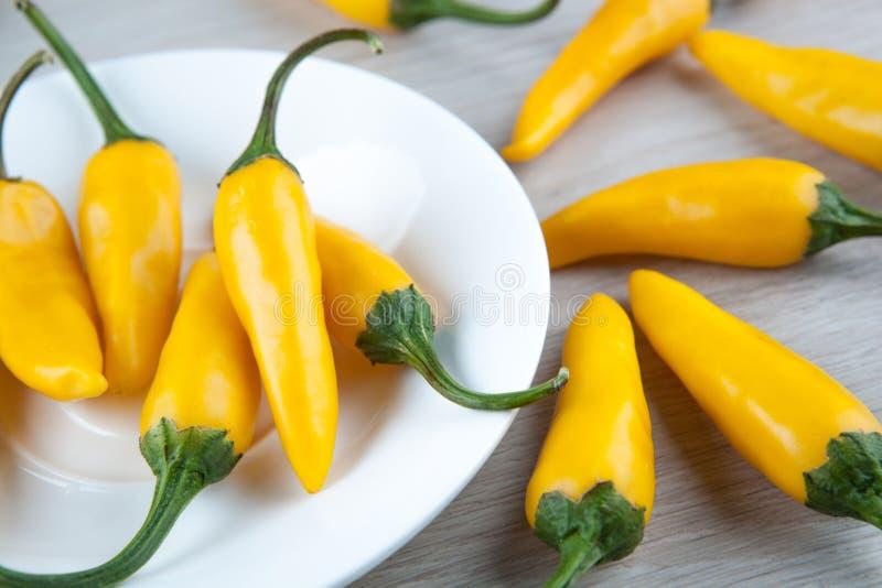 Frukter av gul ny chilipeppar i en vit platta royaltyfri fotografi