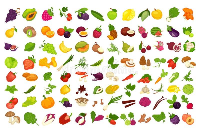 Frukter, grönsaker, bär och kryddor eller isolerade symboler för champinjoner vektorn ställde in stock illustrationer