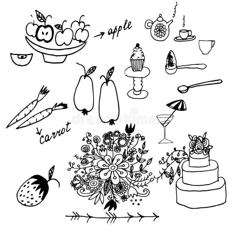 Frukter, grönsaker och annat handen dragit klotter ställde in stock illustrationer