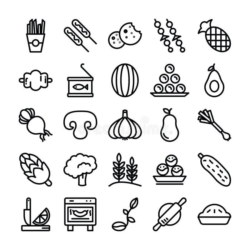 Frukter, grönsaker och mellanmål packar stock illustrationer