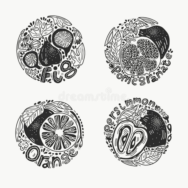 Frukter i den runda uppsättningen 1 BW stock illustrationer