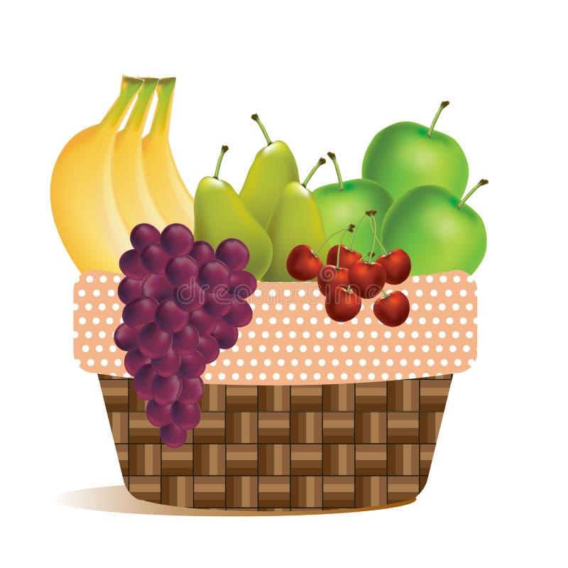 Frukter i den utomhus- skördkorg-picknicken - vektorsymbol royaltyfri illustrationer
