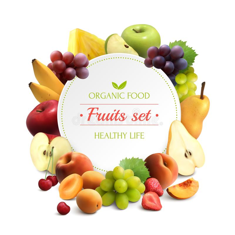 Frukter inramar realistisk bakgrund stock illustrationer