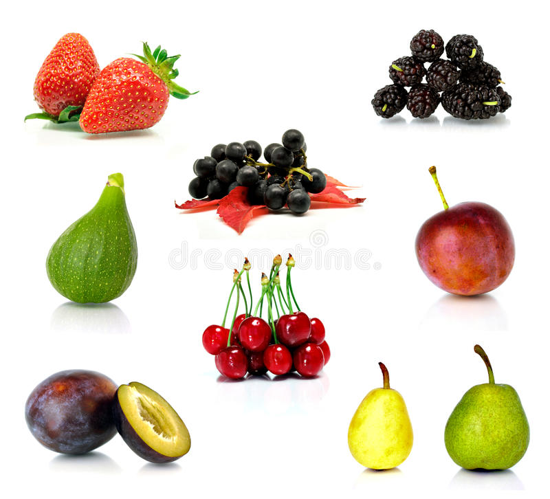 frukter isolerad set white arkivfoton