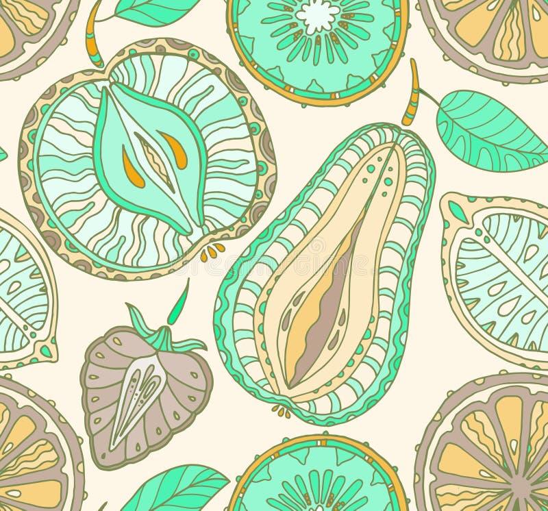 frukter mönsan seamless Abstrakt bakgrund med frukter hälsa vektor illustrationer