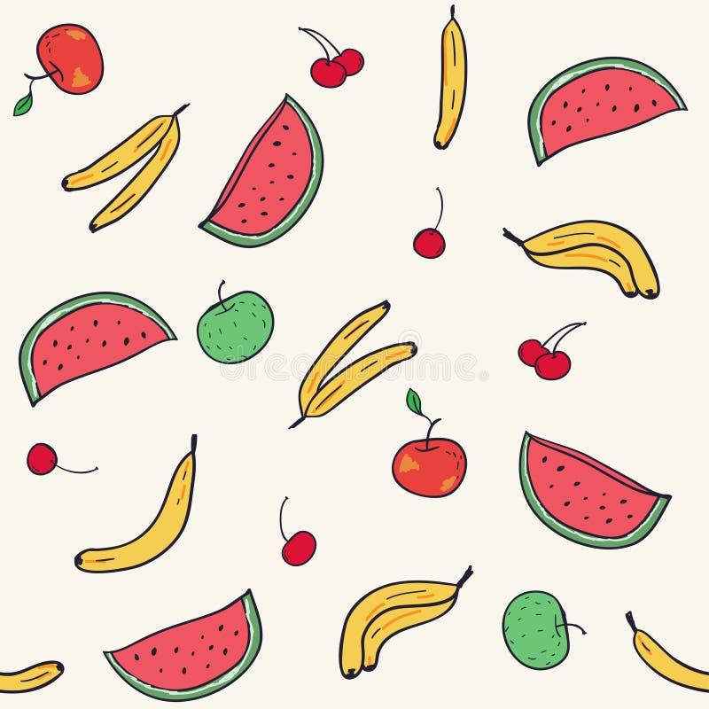 frukter mönsan seamless Moderiktig illustration för tecknad film stock illustrationer