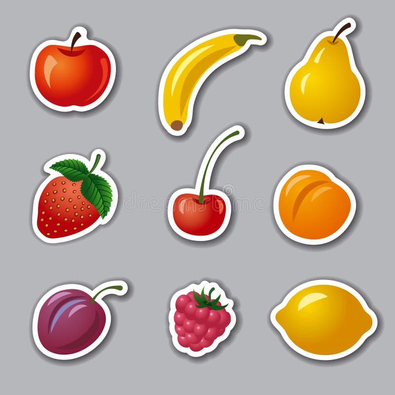 Frukter och bärklistermärkear royaltyfri illustrationer