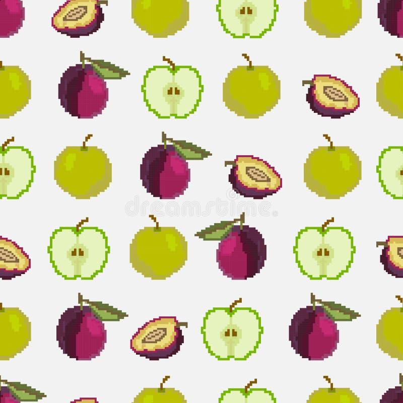 Frukter och b?r Sömlös modell av äpplen och plommoner PIXEL broderi vektor stock illustrationer
