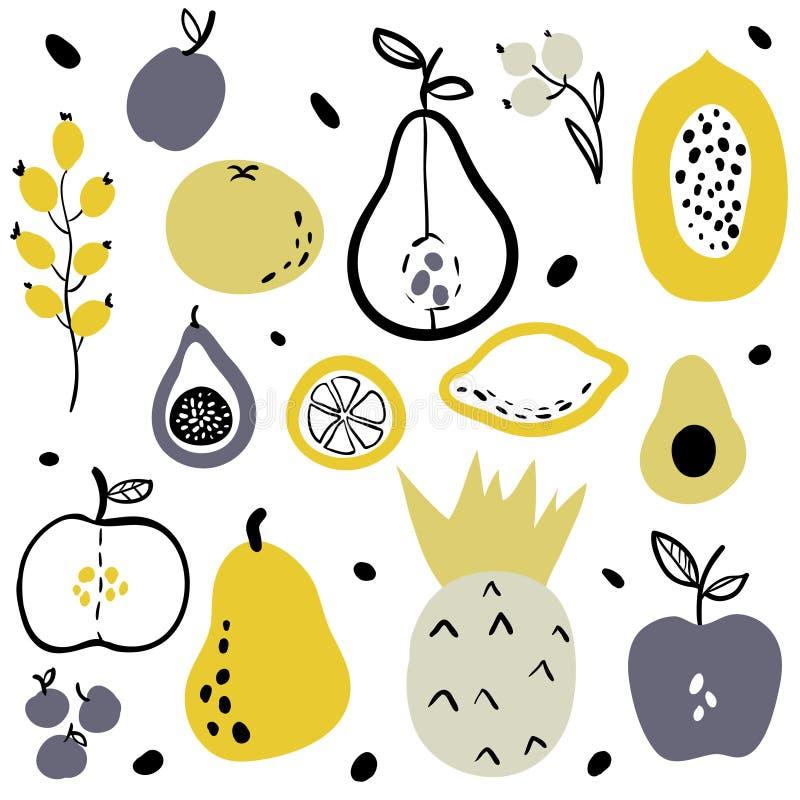 Frukter och b?r s?nker symbolsupps?ttningen royaltyfri illustrationer