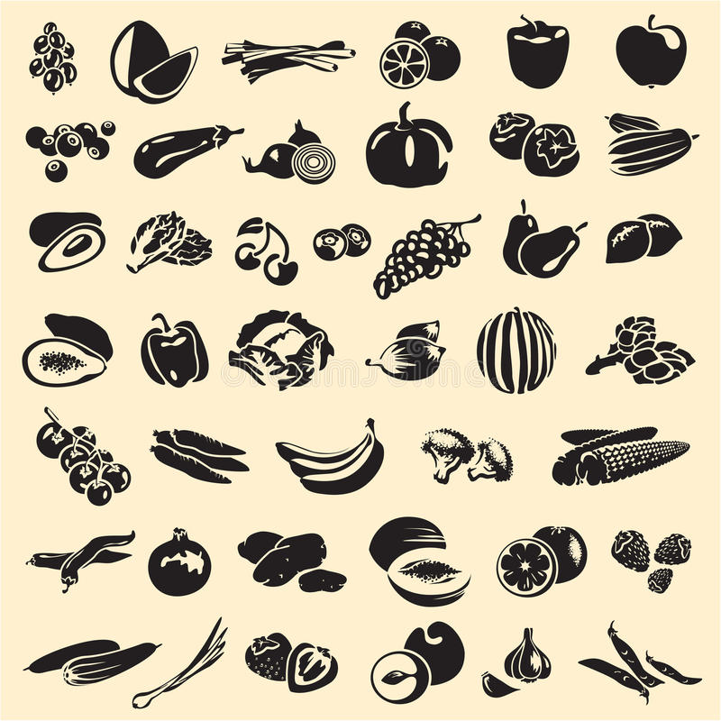 Frukter och grönsaker stock illustrationer