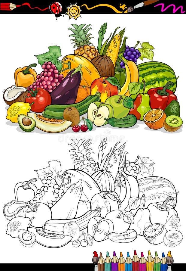 Frukter och grönsaker för färgläggningbok royaltyfri illustrationer