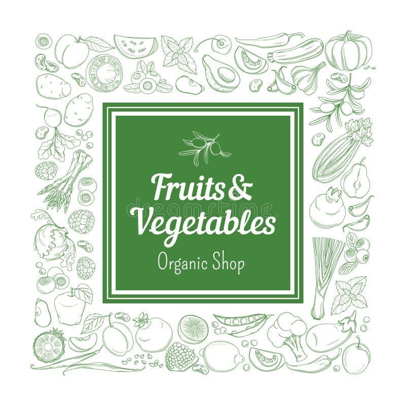 Frukter och grönsaker för gräsplan för modell för ramgränsbakgrund nya tropiska stock illustrationer