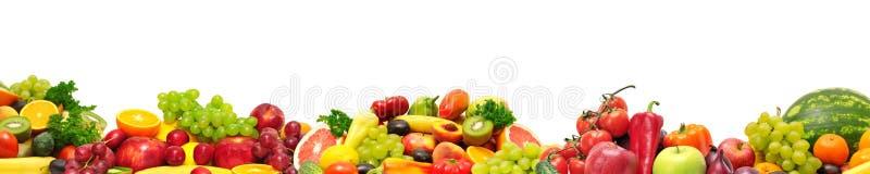 Frukter och grönsaker för panorama- samling nya för skinaliiso arkivfoton