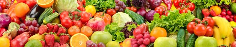 Frukter och grönsaker för panorama- samling sunda arkivfoton