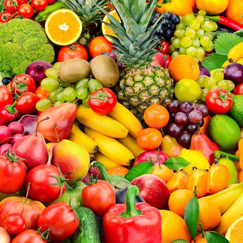 Frukter och grönsaker för stor samling sunda matar fotografering för bildbyråer