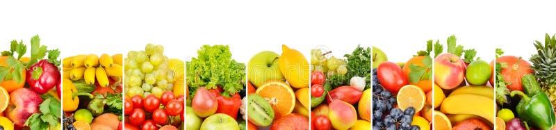 Frukter och grönsaker som isoleras på vit bakgrund Panorama- Co royaltyfri illustrationer