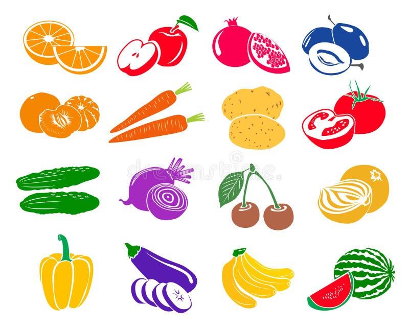 Frukter och grönsaker ställde in symboler royaltyfri illustrationer