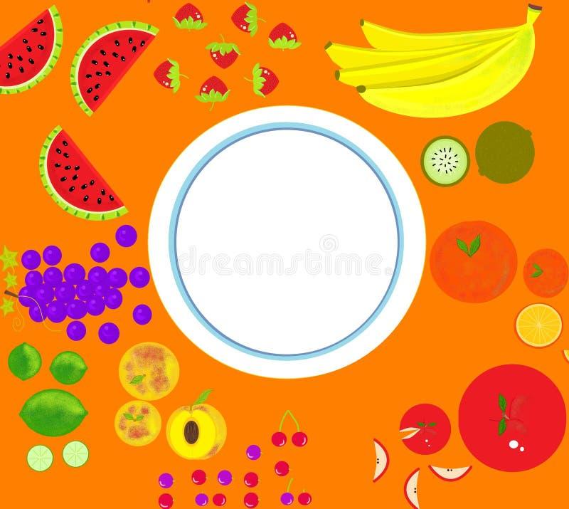 Frukter på tabellplattan arkivfoton