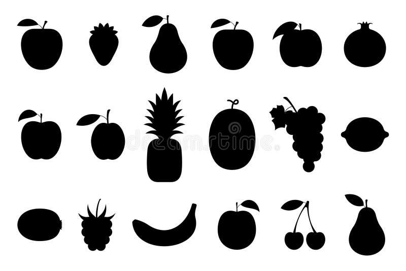 frukter Plan stil vektor illustrationer