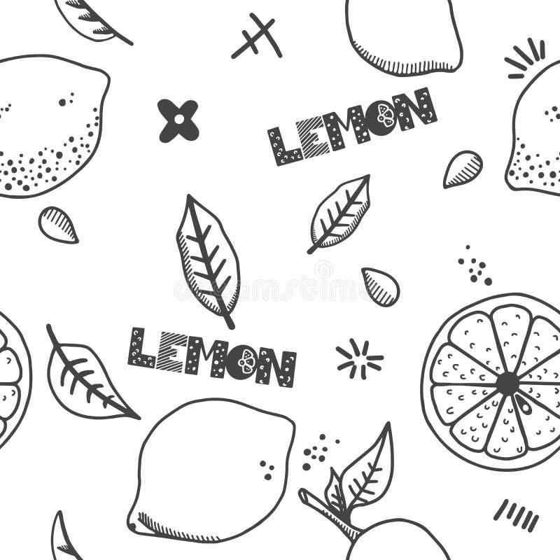 Frukter räcker den utdragna sömlösa modellen Citrontextur Vit bakgrund för sund och ny mat med svarta översiktsbeståndsdelar För  royaltyfri illustrationer