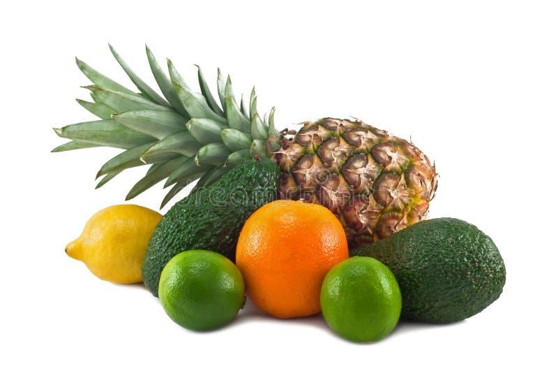 Frukter som isoleras på vit bakgrund royaltyfria bilder