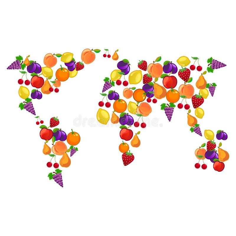 Frukter som kombineras i världskartaform med kontinenter av det mogna fruktskördäpplet, päron, citron, jordgubbe, persika, körsbä royaltyfri illustrationer