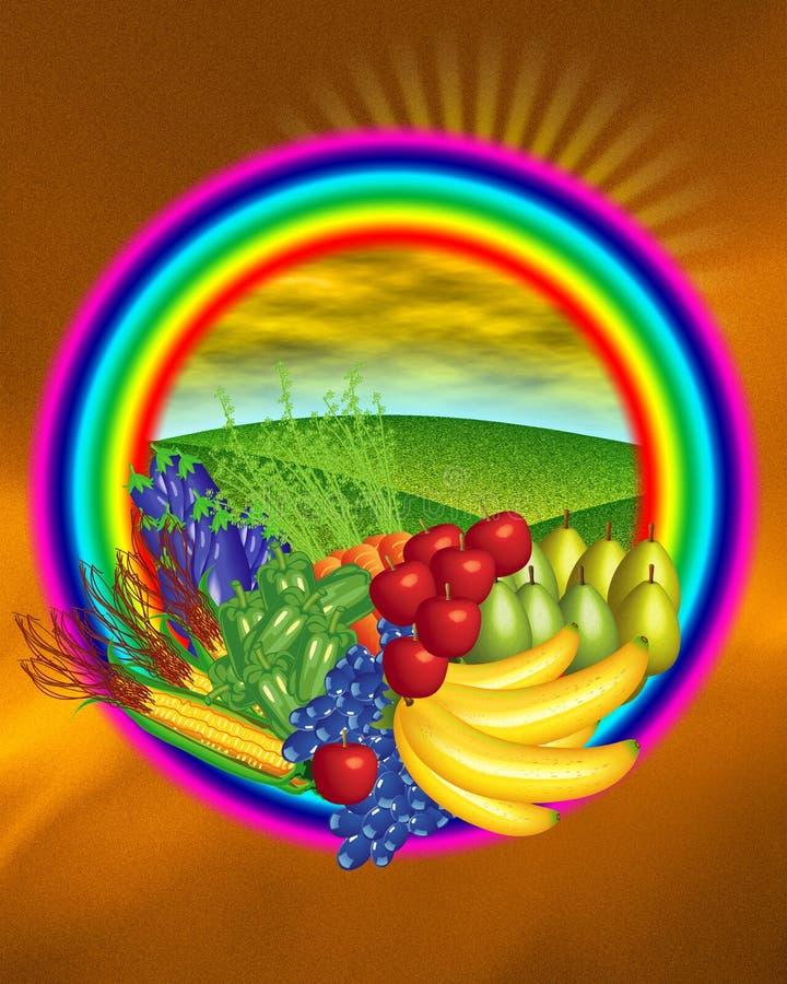 fruktetikettsgrönsak royaltyfri illustrationer