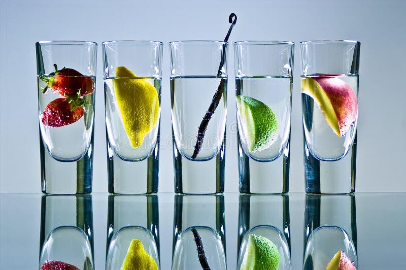 fruktexponeringsglasvodka royaltyfri fotografi