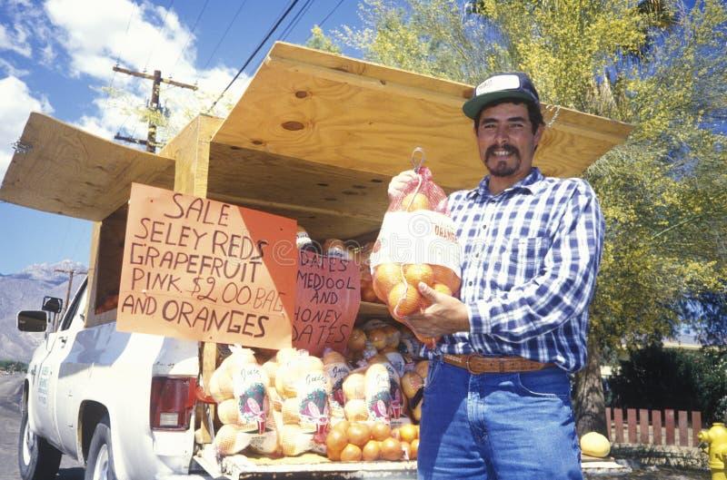 Fruktförsäljare, Borrego Springs, Kalifornien fotografering för bildbyråer