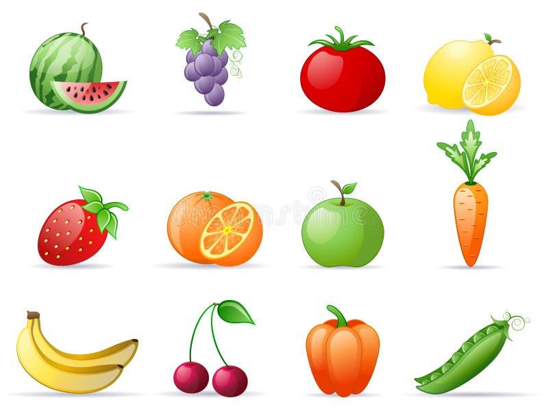 fruktgrönsaker royaltyfri illustrationer