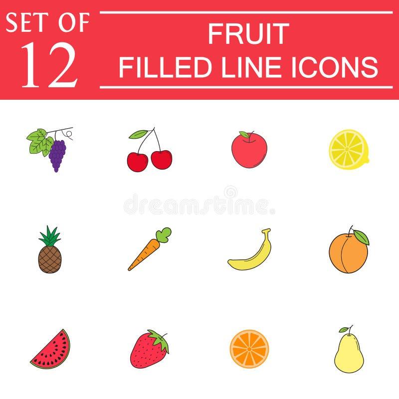 Fruktlinje symbolsuppsättning, organisk vegetarisk mat stock illustrationer