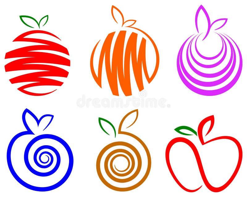 Fruktlogouppsättning royaltyfri illustrationer