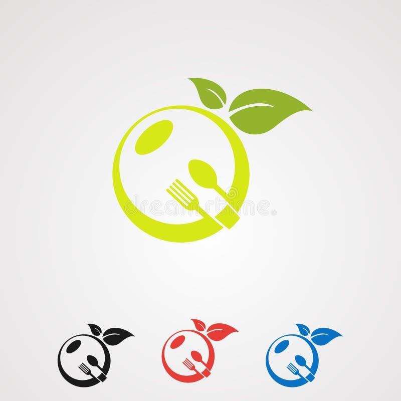 Fruktmatuppsättning med den organiska vektorn, symbolen, beståndsdelen och mallen för bladbegreppslogo för företag stock illustrationer
