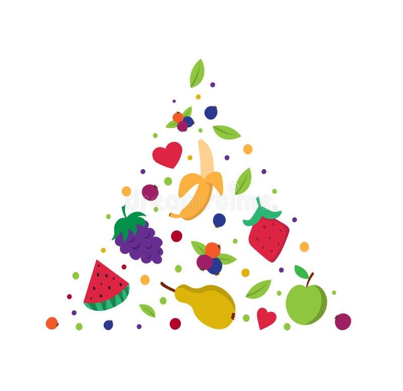 Fruktpyramid Sund pyramid för ätabegreppsmat Banan päron, vattenmelon, äpple vektor illustrationer