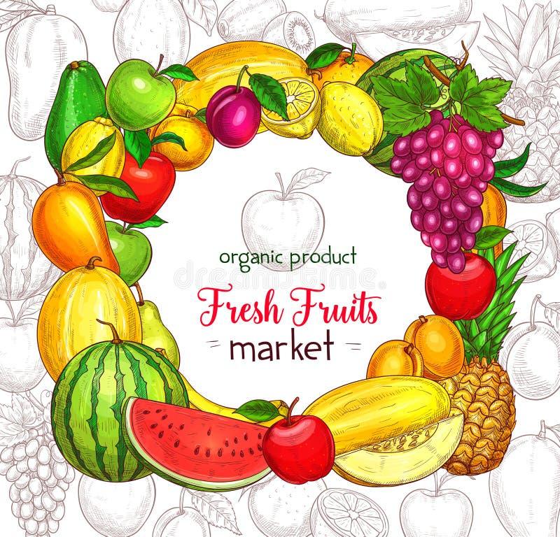 Fruktramgräns för marknadsaffisch för organisk mat vektor illustrationer