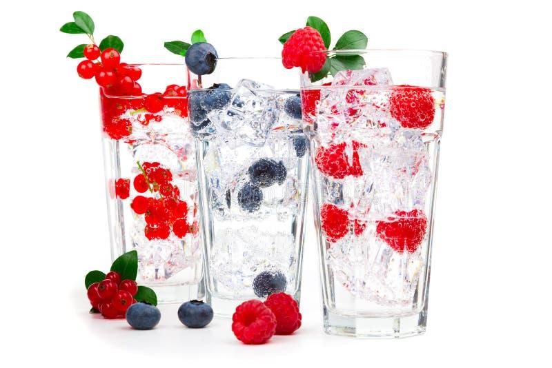 Fruktsaft/coctail med vinbäret, hallonet, blåbäret och is royaltyfri foto