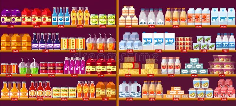 Fruktsaft dricker, och mejeri på shoppar hyllor eller ställer ut royaltyfri illustrationer