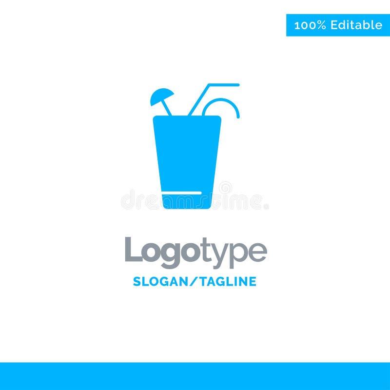 Fruktsaft drink, mat, vår blåa fasta Logo Template St?lle f?r Tagline royaltyfri illustrationer