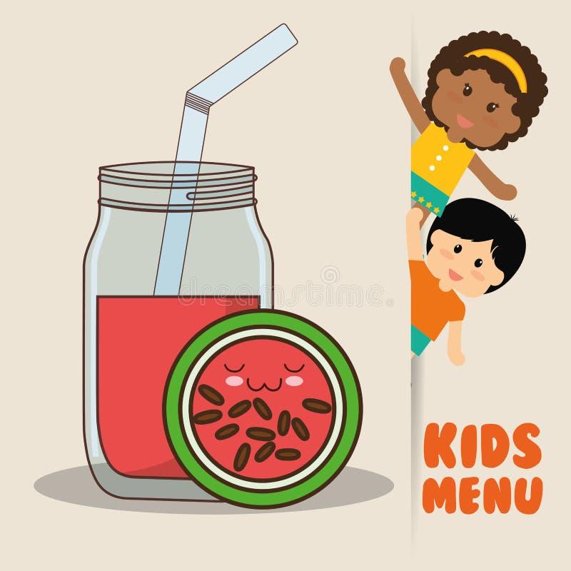 Fruktsaft för vattenmelon för ungemenybarn bantar stock illustrationer